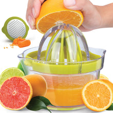 Load image into Gallery viewer, Citrus Juicer Squeezer with Built-In 12 oz Measuring Cup, Strainer & Vegetable Grater - Zulay Kitchen