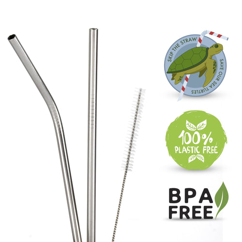 Stainless Steel Straws - Eco-Friendly Reusable Straws - Set of 2 with Cleaning Brush - Zulay Kitchen