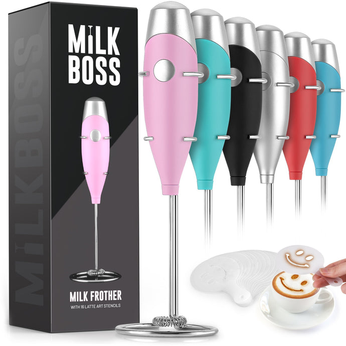 Milk Boss Mighty Milk Frother Handheld Whisk Mixer With 16-Piece Stencils For Lattes, Matcha & More - Zulay Kitchen