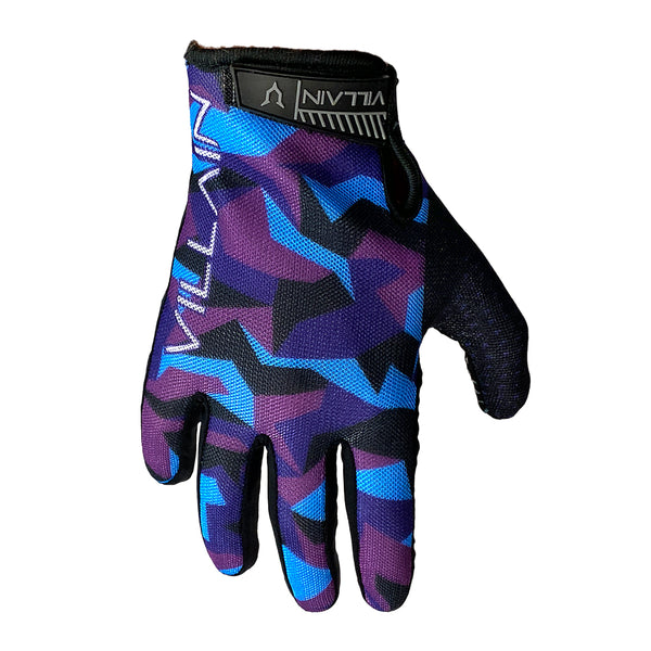 VILLAIN - GAUNTLET RIDING GLOVES - BLUE/PURPLE