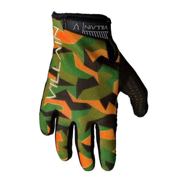 VILLAIN - GAUNTLET RIDING GLOVES - GREEN/ORANGE