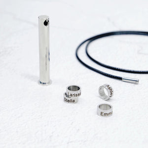 Engraved Family Name Bar Necklace For Men
