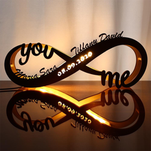 Load image into Gallery viewer, CUSTOM INFINITY I LOVE YOU NIGHT LIGHT ENGRAVED WOOD LAMP