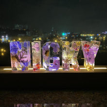 Load image into Gallery viewer, Dried Flowers Resin Letter Light