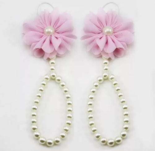 Beautiful Baby Girls Pearl Flower Barefoot Sandals