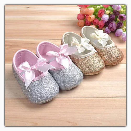 Sparkly Baby Girl Ribbon Bow Shoes