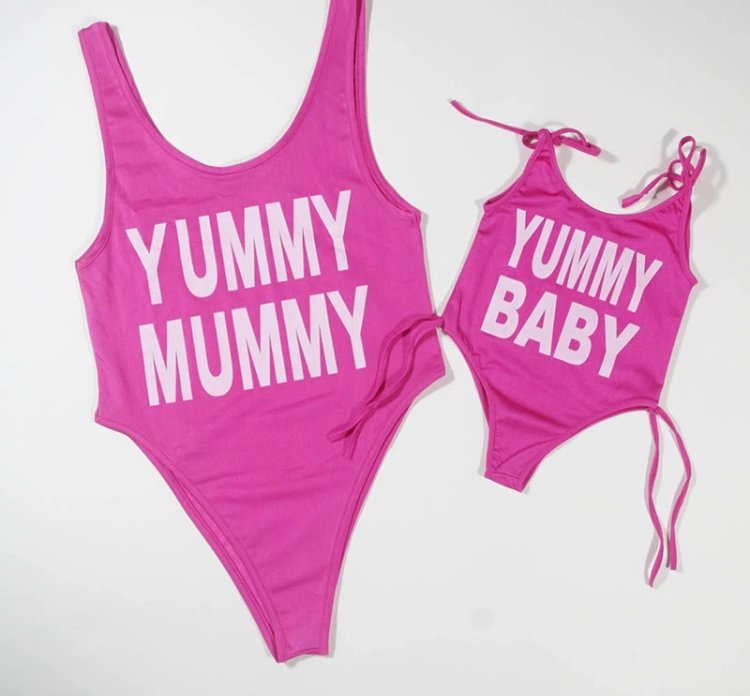 Basic Mother and daughter matching swimsuits