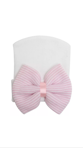 Newborn White Pink Bow Baby Girls Beanie Hat