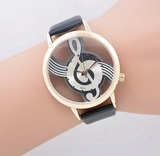 Woman's Stylish Treble Clef (G Clef) Musical Watch