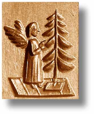 1106 Angel Decorating Christmas Tree Springerle Cookie mold emporium