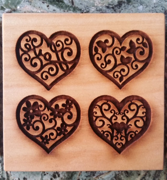springerle emporium 4 heart cookie mold