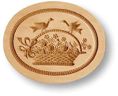 flower basket doves springerle emporium cookie mold
