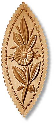 2979 Flower in Oval Leaf Springerle Emporium Cookie Mold Anis Paradies