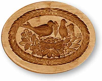 Bird Family in Oval Springerle Cookie Mold