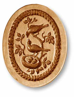 3427 Bird Family with Eggs in Nest Springerle Emporium Cookie Mold Anis Paradies