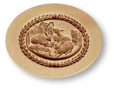Farm Rabbits in Oval Springerle Cookie Mold