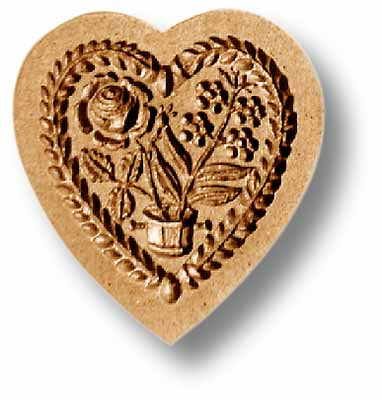 5101 Heart with Flower Pot Springerle Emporium Cookie Mold Anis paradies
