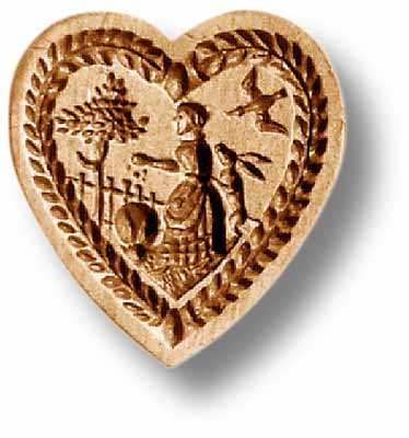 5105 Heart Shaped Mold Woman feeding Farm Animals Rabbits Springerle Emporium