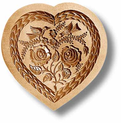 5115 Heart with Roses and Doves Large Springerle Emporium cookie mold anis paradies