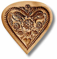 5136 flower heart with angel and bird springerle emporium cookie mold anis paradies