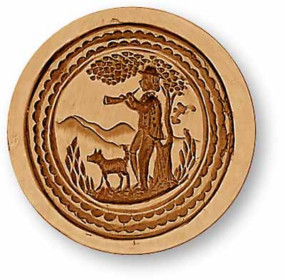 Man Playing Clarion with Dog Springerle Cookie Mold