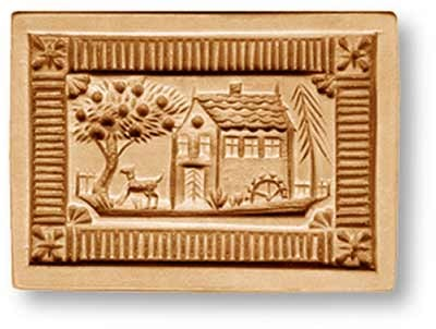 7026 Water Mill and Apple Tree Farm Springerle Emporium Cookie Mold Anis Paradies