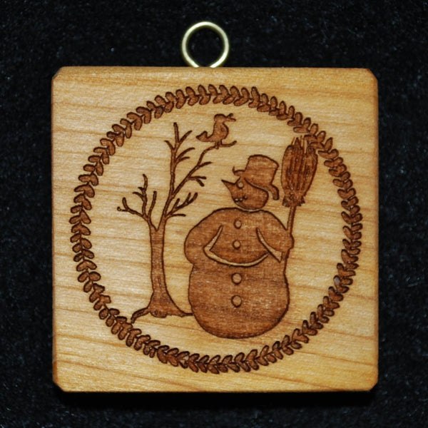 Snowman with Tree and Bird Springerle Cookie Mold