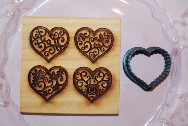Cookie Cutter: Fluted Edge Heart for Multi Image: Four Different Hearts Mold