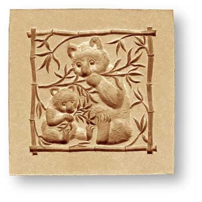 Mother and Baby Panda Bears Springerle Cookie Mold by Anis-Paradies
