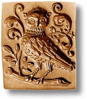 Owl with Leafy Vines Springerle Emporium Cookie Mold Anis Paradies