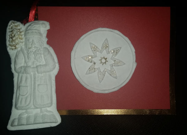 Santa Ornament Pointsettia Greeting Card Paper Cast Springerle Mold Emporium