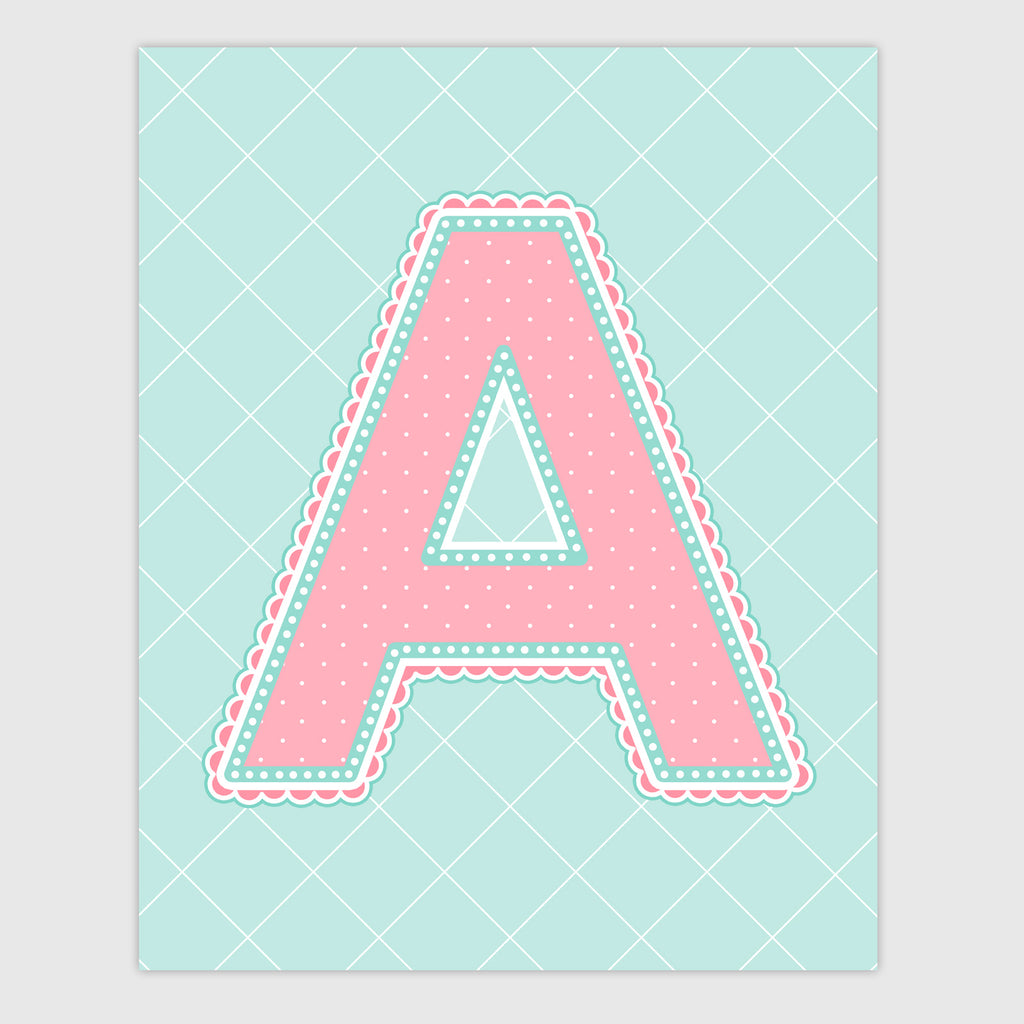 Name Art for Nursery - Lace Letter A in Coral and Turquoise Color