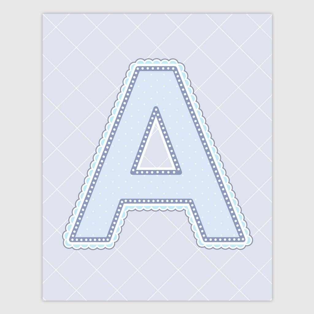 Name Art for Nursery - Lace Letter A in Blue, Grey, and Turquoise Color