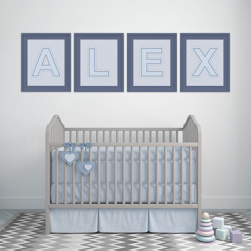 Name Art above Crib in Nursery in Blue, Grey, and Turquoise Color