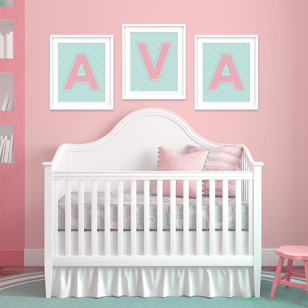 Nursery with Name Art in Coral and Turquoise Color