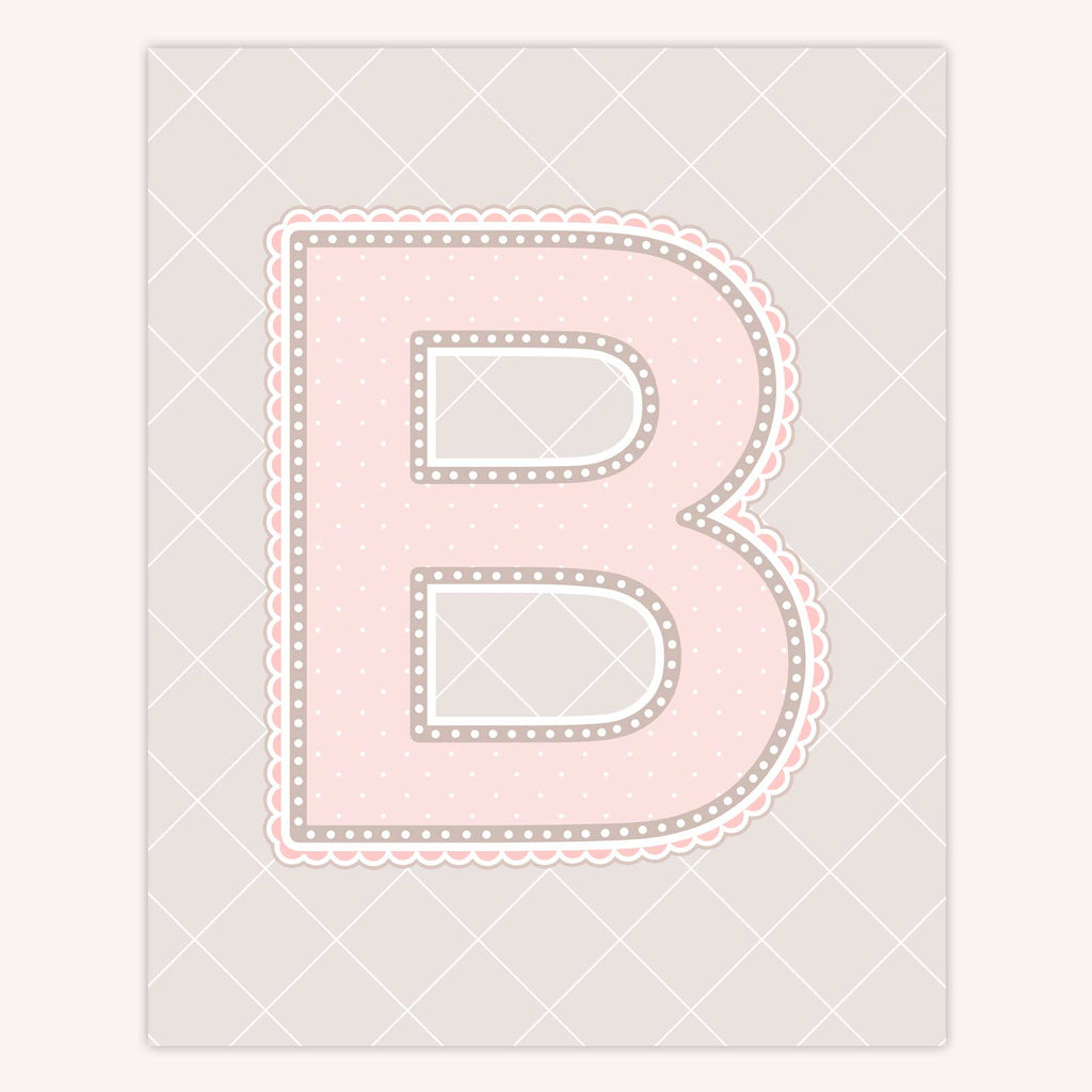 Lace Pattern Letter Print | Blush Color