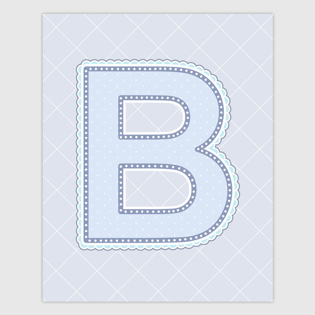 Name Art for Nursery - Lace Letter B in Blue, Grey, and Turquoise Color