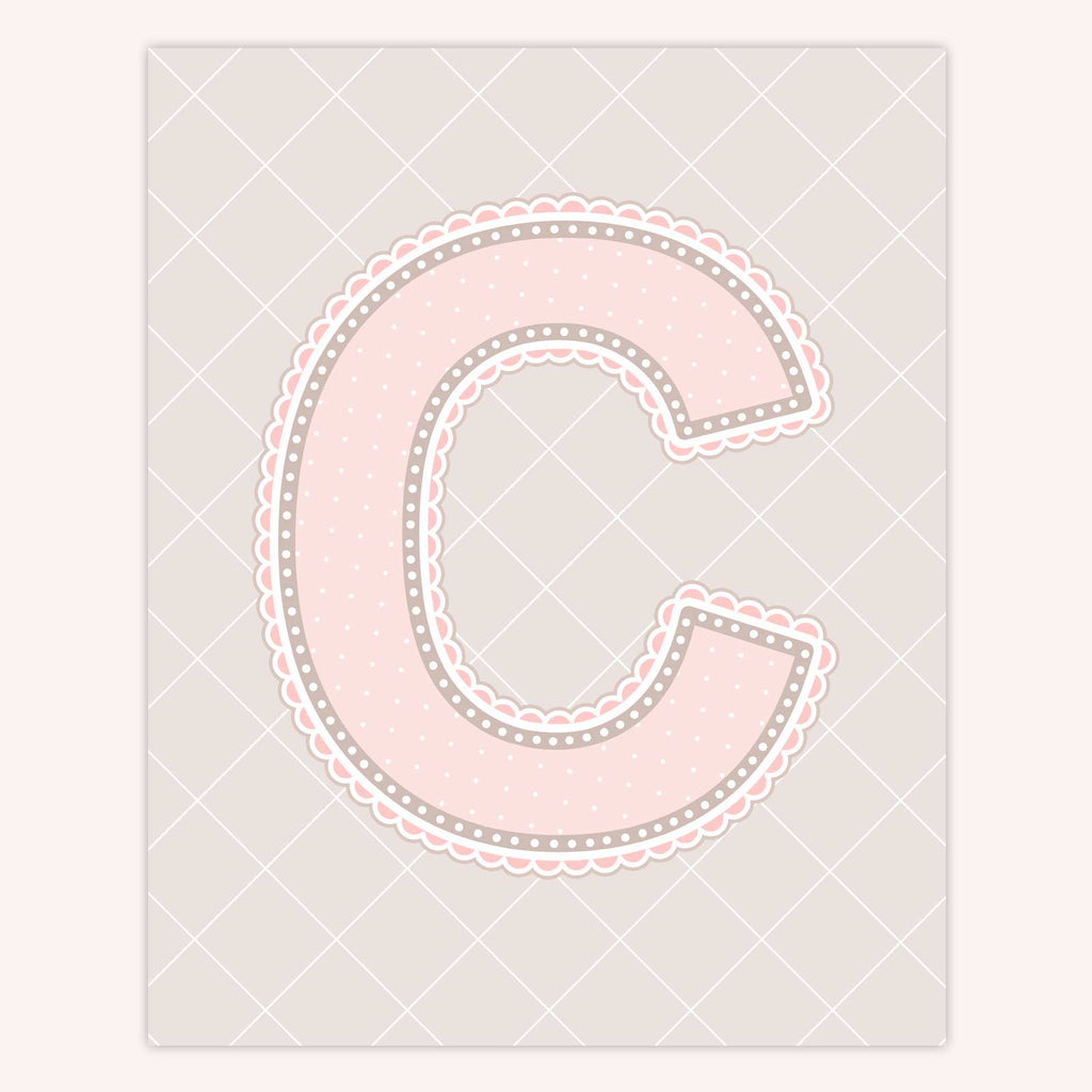 Name Art for Nursery - Lace Letter C in Blush Pink Color
