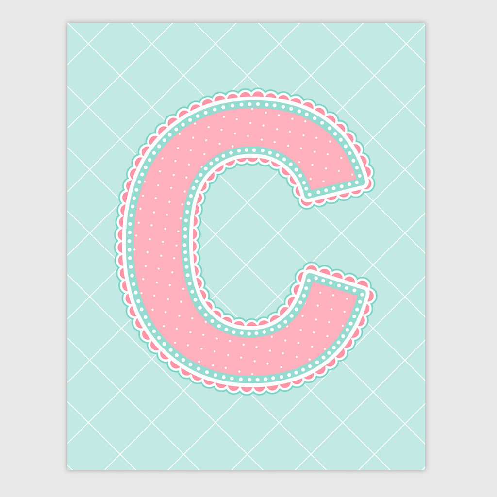 Name Art for Nursery - Lace Letter C in Coral and Turquoise Color