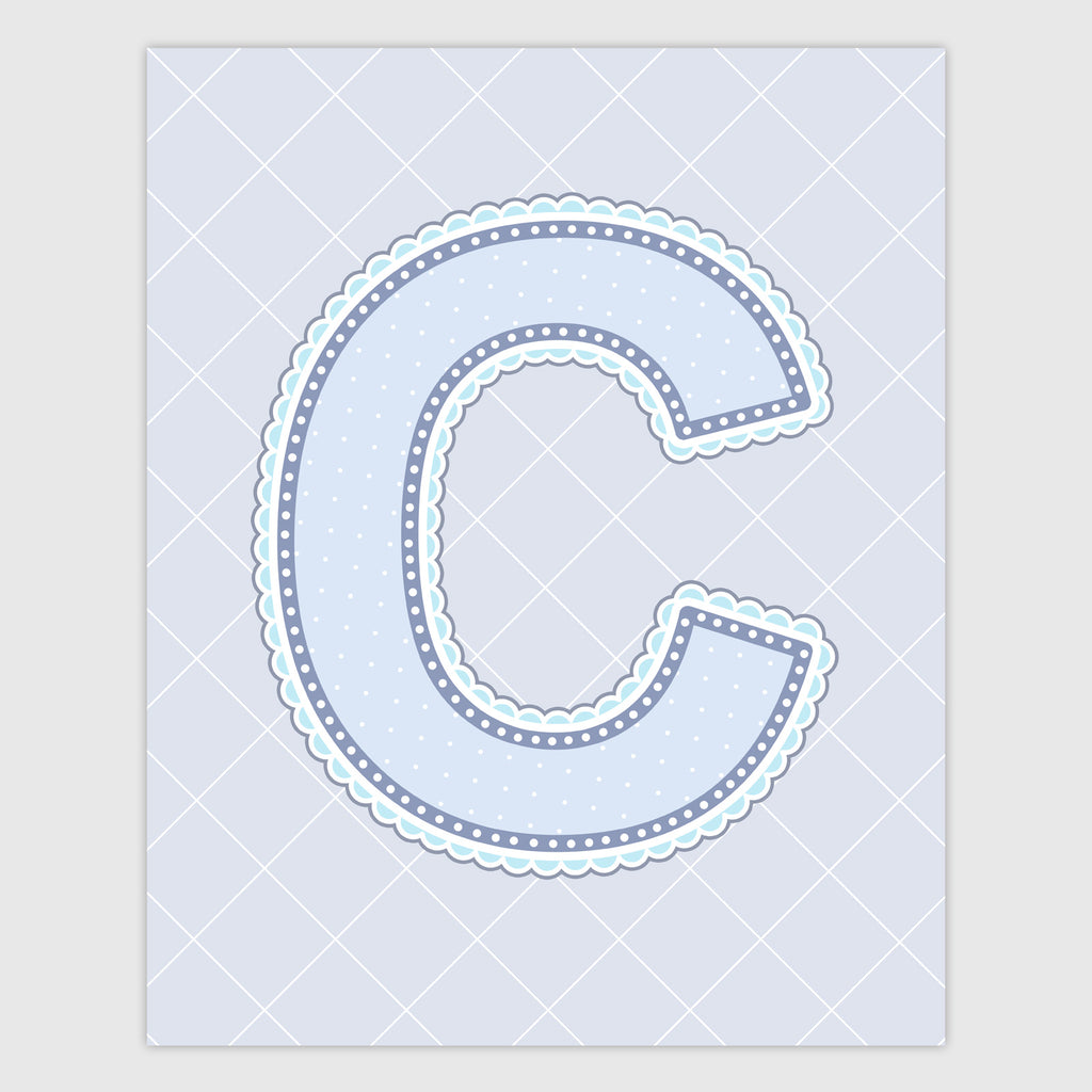 Name Art for Nursery - Lace Letter C in Blue, Grey, and Turquoise Color