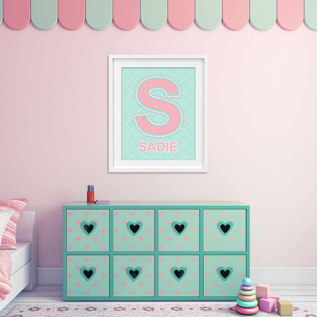 Name Art above dresser in little girl's room in Coral and Turquoise Color