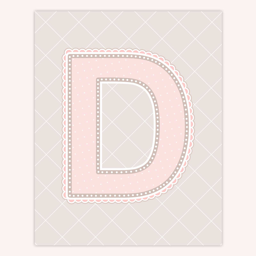 Name Art for Nursery - Lace Letter D in Blush Pink Color