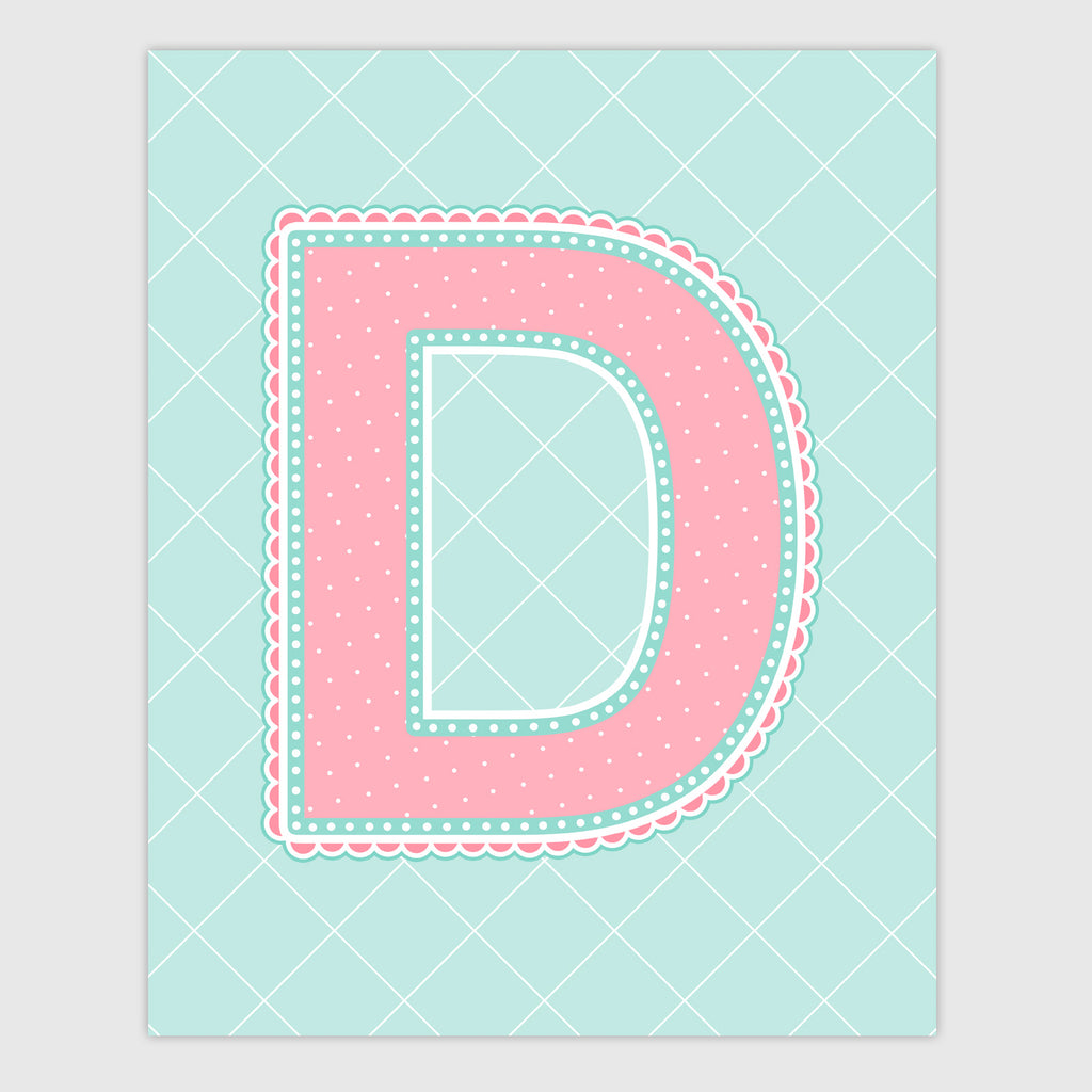 Name Art for Nursery - Lace Letter D in Coral and Turquoise Color