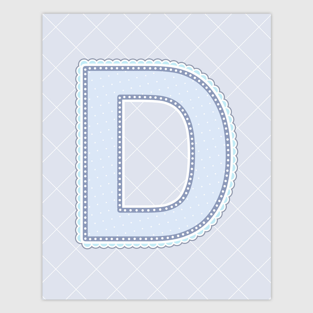 Name Art for Nursery - Lace Letter D in Blue, Grey, and Turquoise Color
