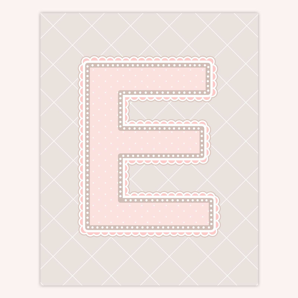 Name Art for Nursery - Lace Letter E in Blush Pink Color