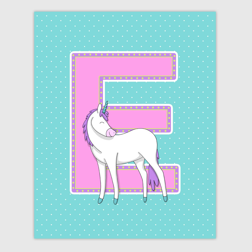 Unicorn Letter Print | Bright Color