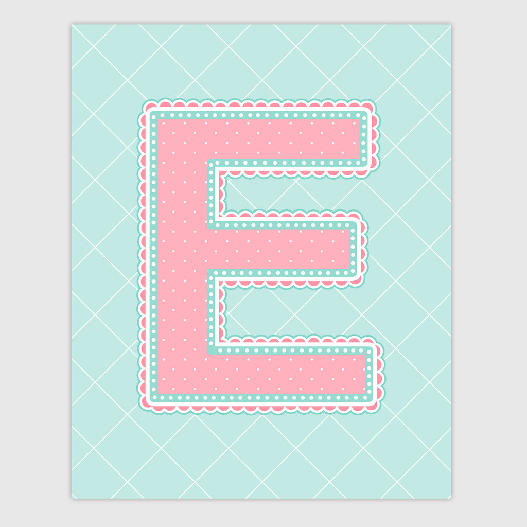 Name Art for Nursery - Lace Letter E in Coral and Turquoise Color