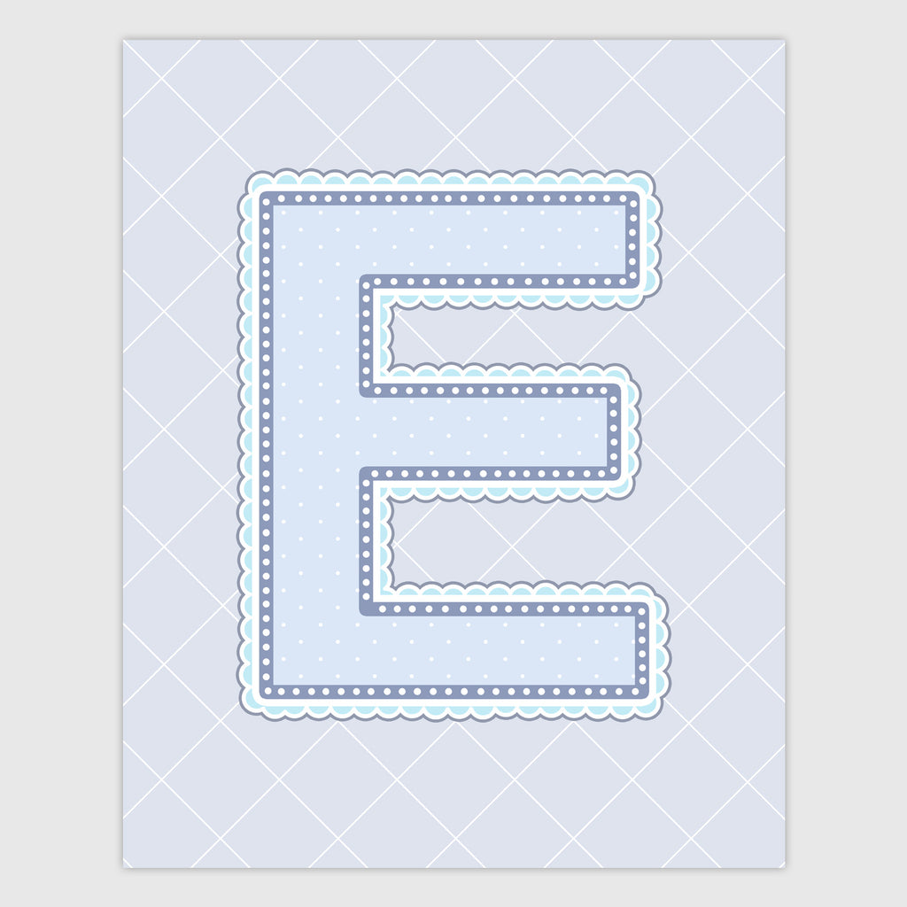 Name Art for Nursery - Lace Letter E in Blue, Grey, and Turquoise Color