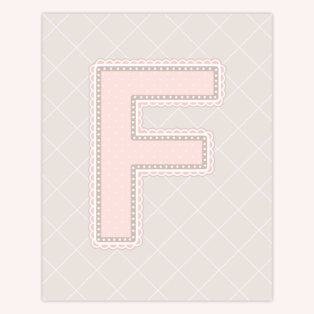 Name Art for Nursery - Lace Letter F in Blush Pink Color