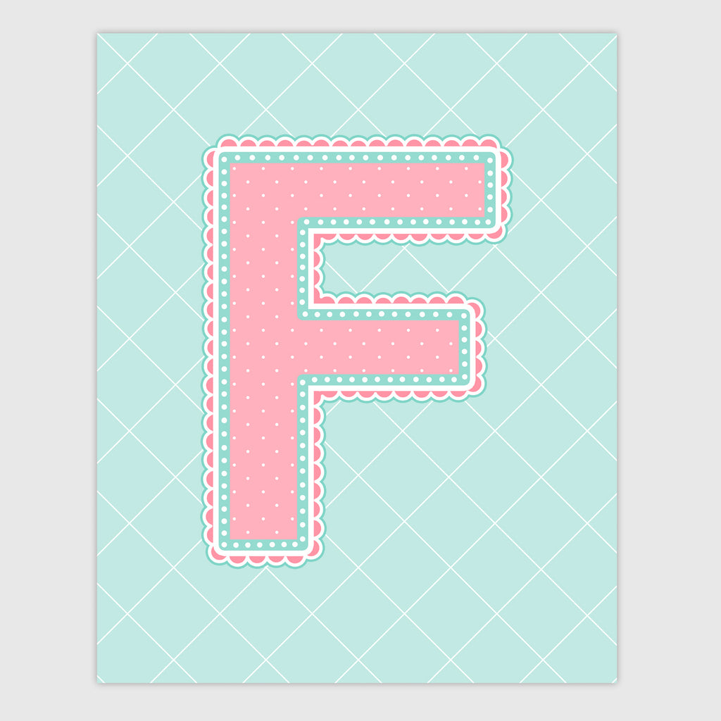 Name Art for Nursery - Lace Letter F in Coral and Turquoise Color